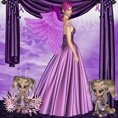 Print featuring the digital art Purple Awareness by Digital Art Cafe