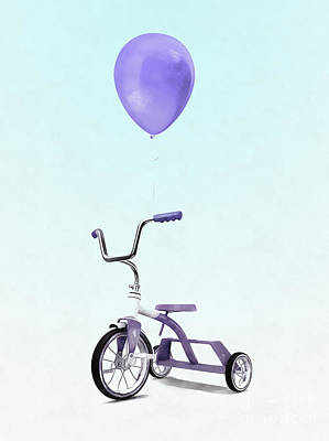 Digital Art - Purple Balloon Purple Tricycle by Edward Fielding