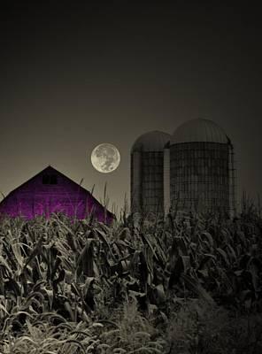 Farm Scenes Photograph - Purple Barn Moon by Emily Stauring
