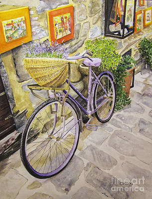 Painting - Purple Bike Cortona Italy by Carol Flagg