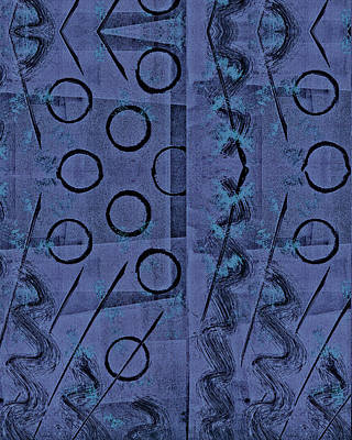 Printmaking Mixed Media - Purple Black Abstract by Sheryl Karas