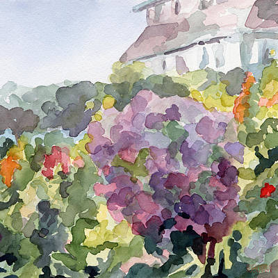 Peaceful Painting - Purple Blossoms Monets Garden Watercolor Paintings Of France by Beverly Brown Prints
