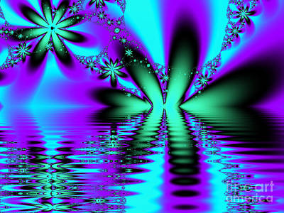 Digital Art - Purple, Blue And Green Lake Flower Fractal by Tracey Everington
