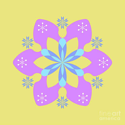 Purple, Blue And Yellow Square Abstract Star Art Print by Pablo Franchi