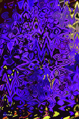 Digital Art - Purple Blue Flower Abstract by Tom Janca