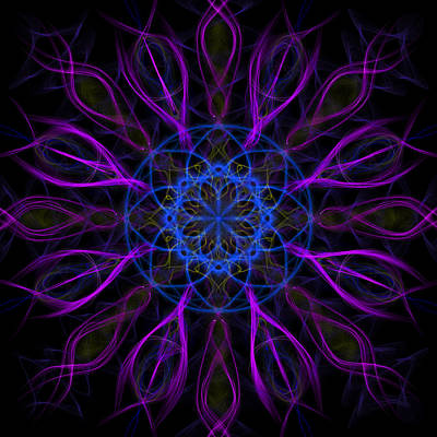Kaleidoscope Digital Art - Purple Blue Kaleidoscope Square by Adam Romanowicz