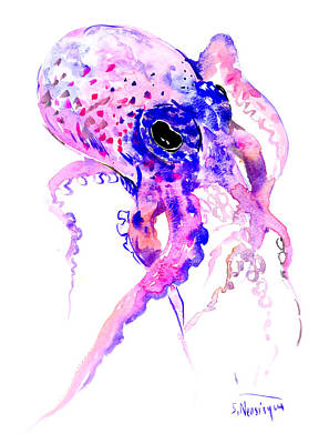 Octopus Painting - Purple Blue Octopus by Suren Nersisyan