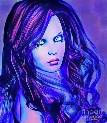 Digital Art - Purple Blue Portrait by Alicia Hollinger