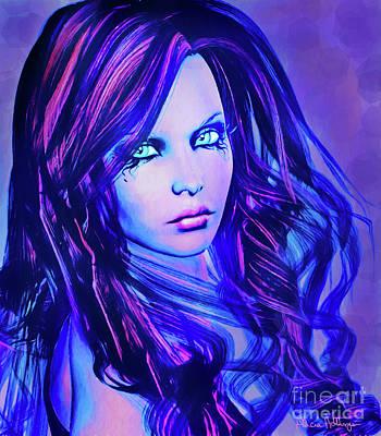 Digital Art - Purple Blue Portrait by Alicia Hollinger