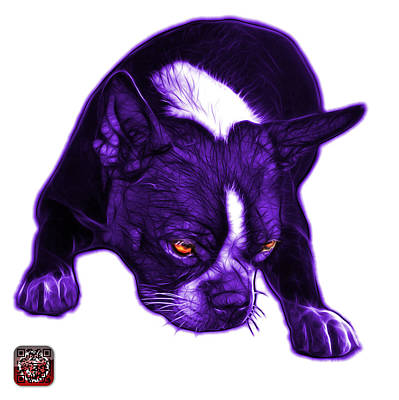 Mixed Media - Purple Boston Terrier Art - 8384 - Wb by James Ahn