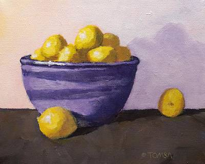 Painting - Purple Bowl And Small Lemons by Bill Tomsa