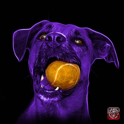 Mixed Media - Purple Boxer Mix Dog Art - 8173 - Bb by James Ahn