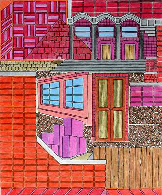 Drawing - Purple Buildings by Gregory Carrico