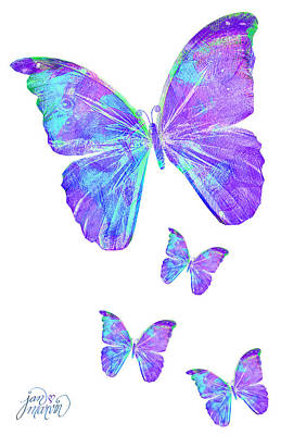 Painting - Purple Butterflies By Jan Marvin by Jan Marvin