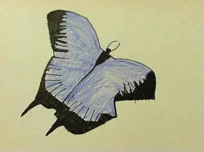 Drawing - Purple Butterfly by Alohi Fujimoto