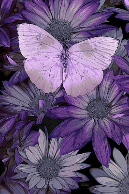 Butterfly Flowers Painting - Purple Butterfly by JQ Licensing