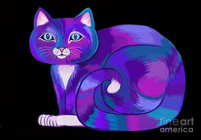 Digital Art - Purple Calico Cat by Nick Gustafson