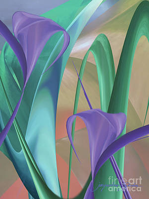 Digital Art - Purple Calla Lilies by Jacqueline Shuler