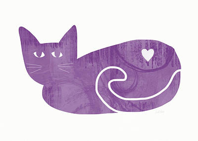 Purple Cat- Art By Linda Woods Art Print by Linda Woods
