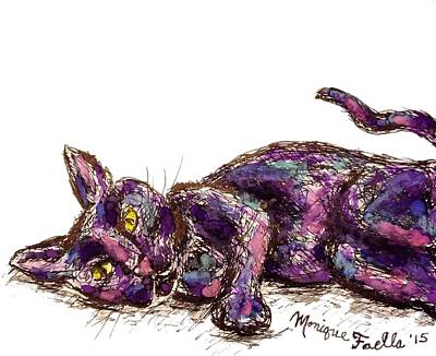 Painting - Purple Cat by Monique Faella