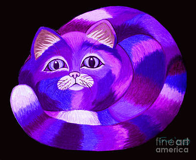 Drawings Royalty Free Images - Purple Cat Royalty-Free Image by Nick Gustafson