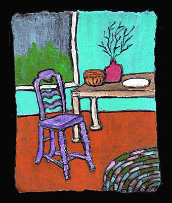 Interior Still Life Painting - Purple Chair by Wayne Potrafka