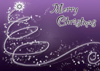 Digital Art - Purple Christmas Card by Lisa Knechtel