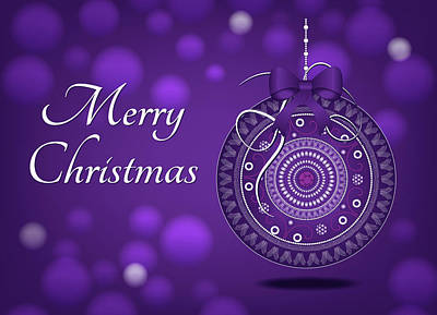 Digital Art - Purple Christmas Ornament Card by Serena King