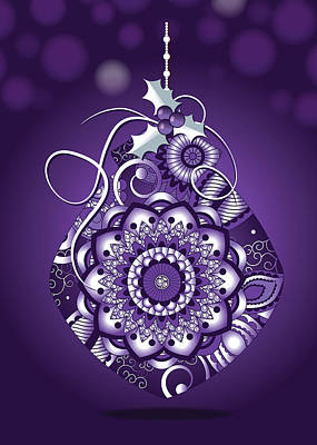Digital Art - Purple Christmas Ornament by Serena King