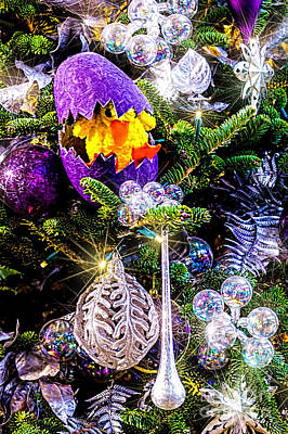 Photograph - Purple Christmas Ornaments by Nick Zelinsky