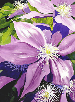 Purple Clematis In Sunlight Original by Janis Grau