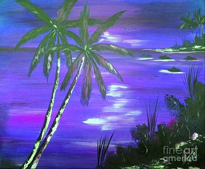 Popstar And Musician Paintings Royalty Free Images - Purple Coconut Sunset Royalty-Free Image by Collin A Clarke