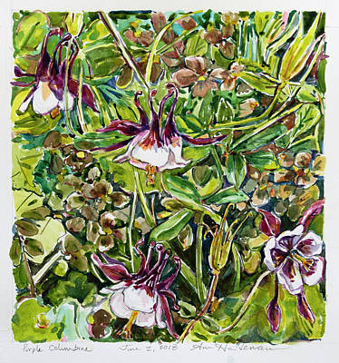 Painting - Purple Columbine by Ann Heideman