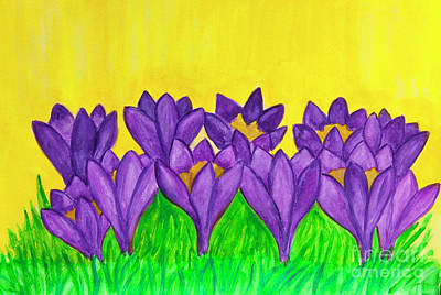 Painting - Purple Crocuses On Yellow Background, Watercolor by Irina Afonskaya