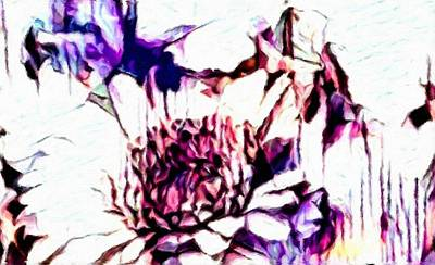 Abstract Impressionism Painting - Purple Daisy  by Katrina Britt