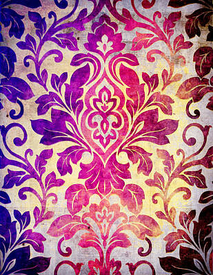 Purple Damask Pattern Art Print