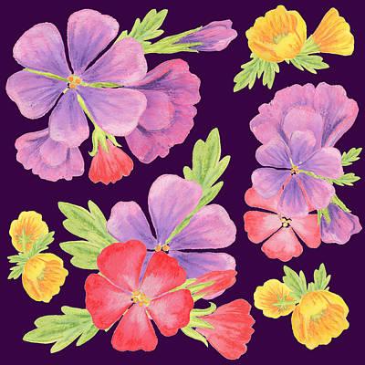 Purple Dance Flowers  Art Print by Irina Sztukowski