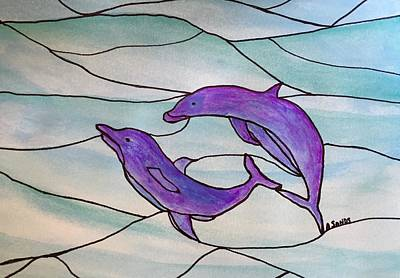 Painting - Purple Dolphin Abstract by Anne Sands