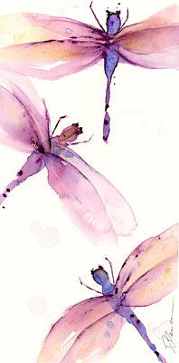 Painting - Purple Dragonflies by Dawn Derman