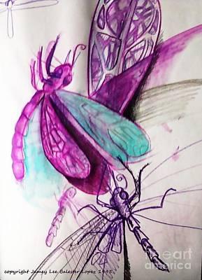Purple Dragonflies Art Print by Jamey Balester
