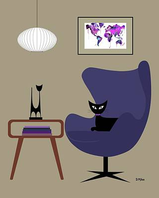 Digital Art - Purple Egg Chair by Donna Mibus