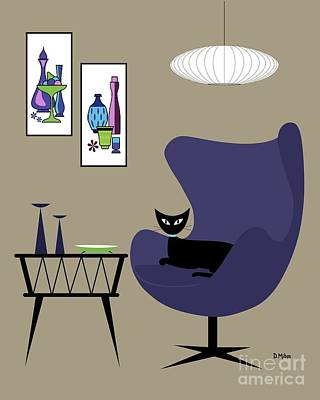 Digital Art - Purple Egg Chair With Cat by Donna Mibus