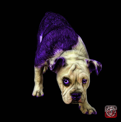 Painting - Purple English Bulldog Dog Art - 1368 - Bb by James Ahn