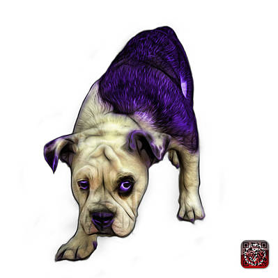Painting - Purple English Bulldog Dog Art - 1368 - Wb by James Ahn