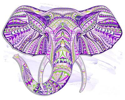 Painting - Purple Ethnic Elephant by Aloke Creative Store