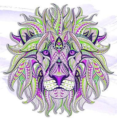 Painting - Purple Ethnic Lion by Aloke Creative Store