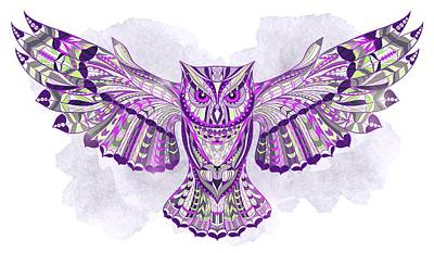 Painting - Purple Ethnic Owl by Aloke Creative Store