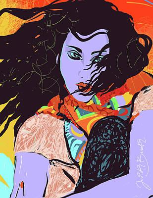 Digital Art - Purple Face Girl by Judith Barath