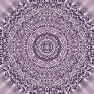 Purple Feather Mandala Art Print