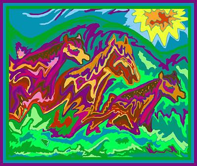 Digital Art - Purple Feathered Horses by Julia Woodman